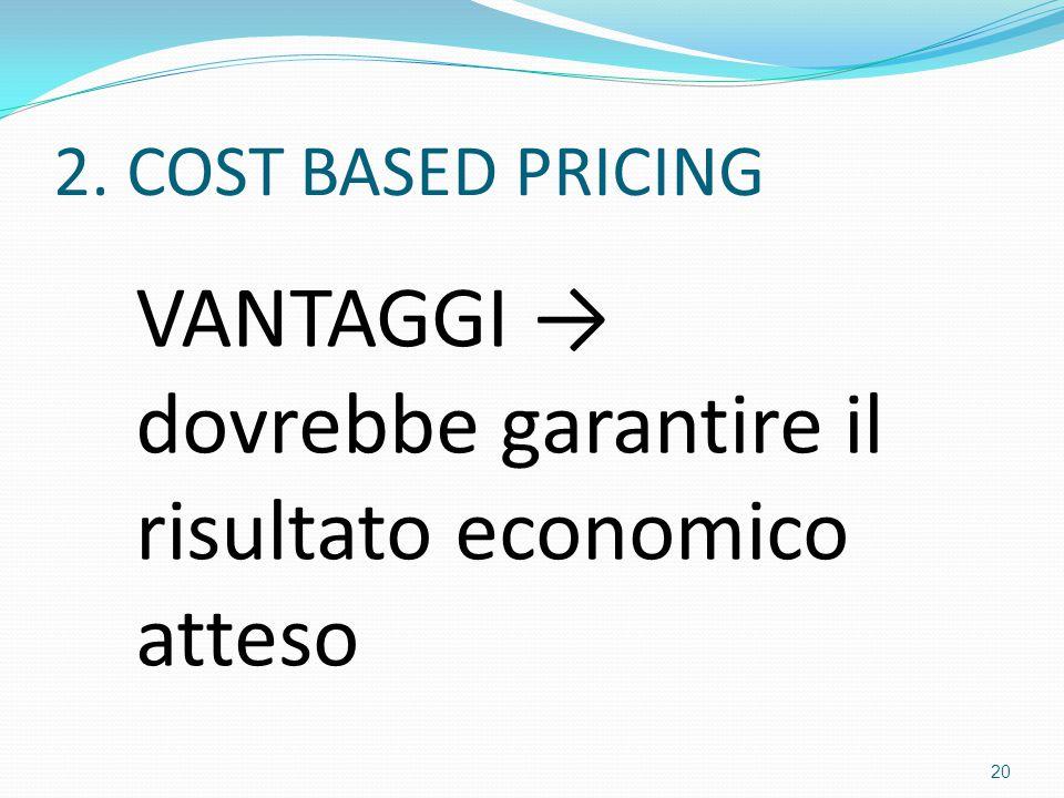 VANTAGGI → dovrebbe garantire il risultato economico atteso