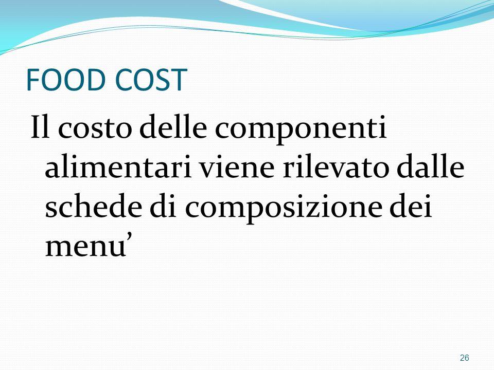 FOOD COST Il costo delle componenti alimentari viene rilevato dalle schede di composizione dei menu'