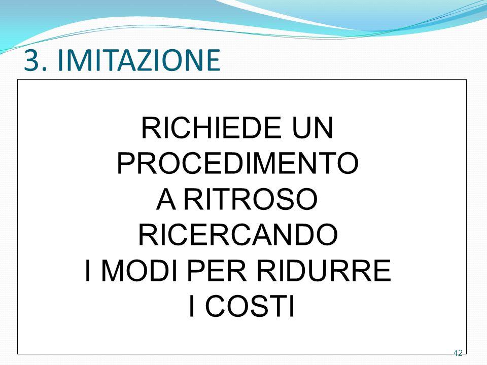 3. IMITAZIONE RICHIEDE UN PROCEDIMENTO A RITROSO RICERCANDO