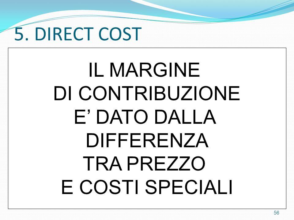 5. DIRECT COST IL MARGINE DI CONTRIBUZIONE E' DATO DALLA DIFFERENZA