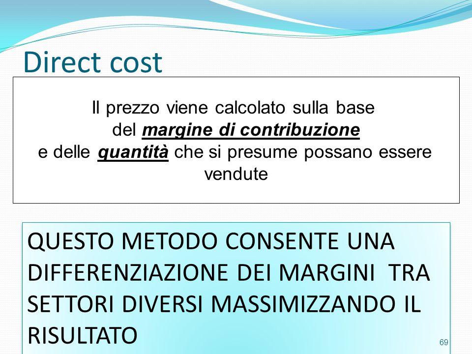 Direct cost Il prezzo viene calcolato sulla base. del margine di contribuzione. e delle quantità che si presume possano essere.