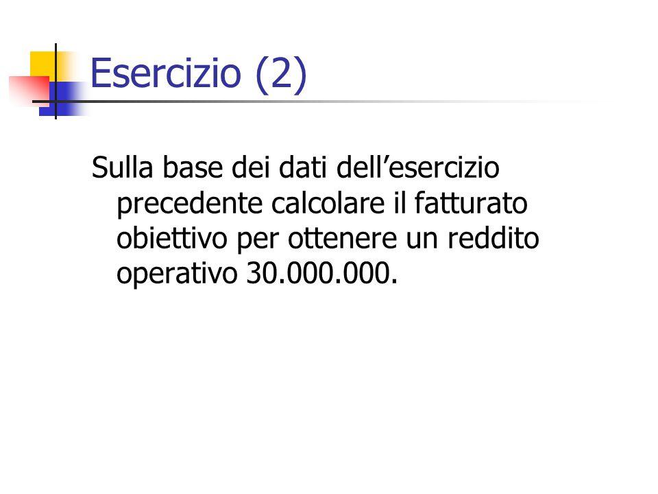 Esercizio (2) Sulla base dei dati dell'esercizio precedente calcolare il fatturato obiettivo per ottenere un reddito operativo 30.000.000.