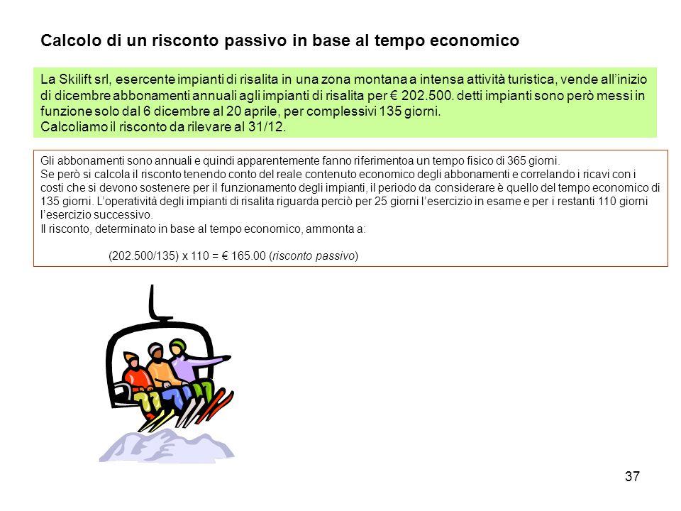 Calcolo di un risconto passivo in base al tempo economico