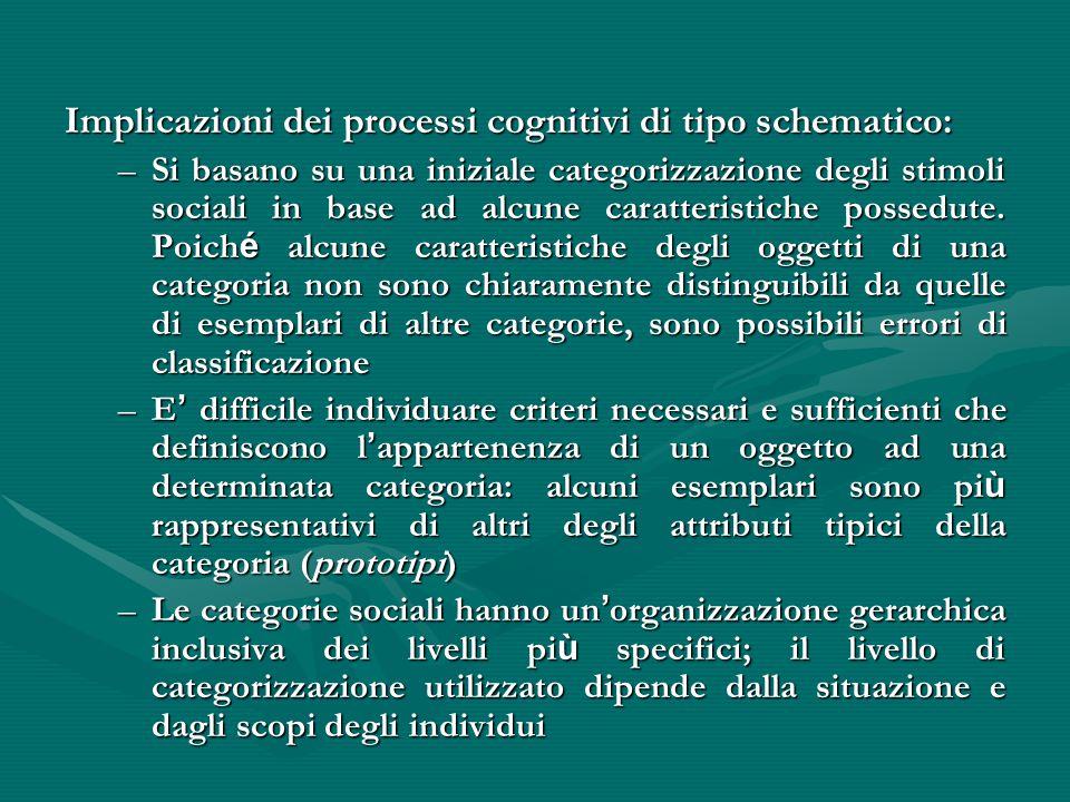 Implicazioni dei processi cognitivi di tipo schematico: