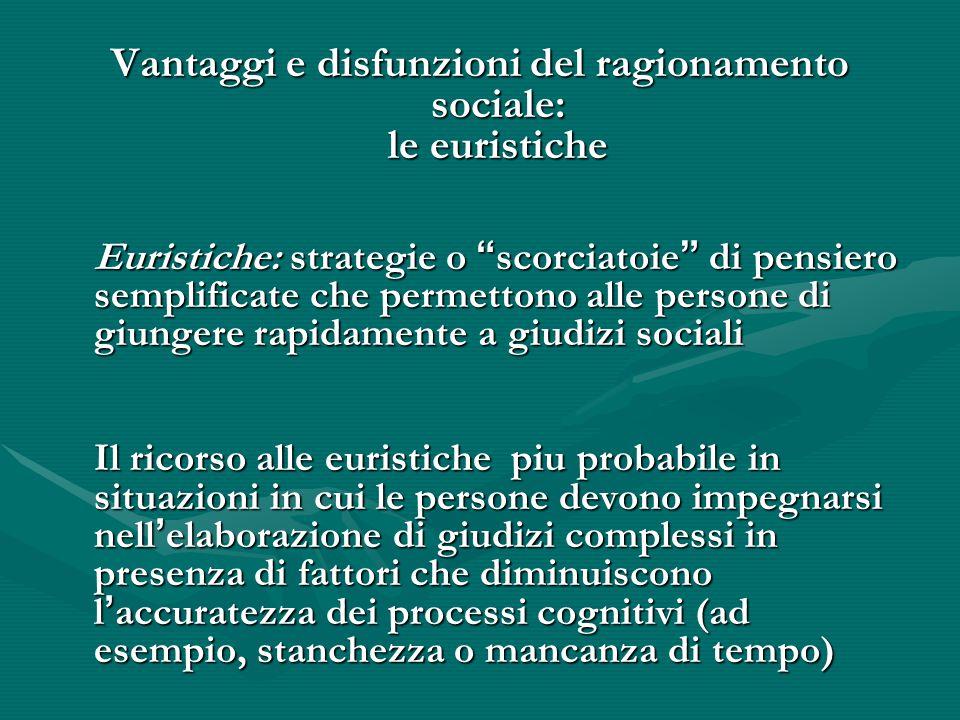 Vantaggi e disfunzioni del ragionamento sociale: le euristiche