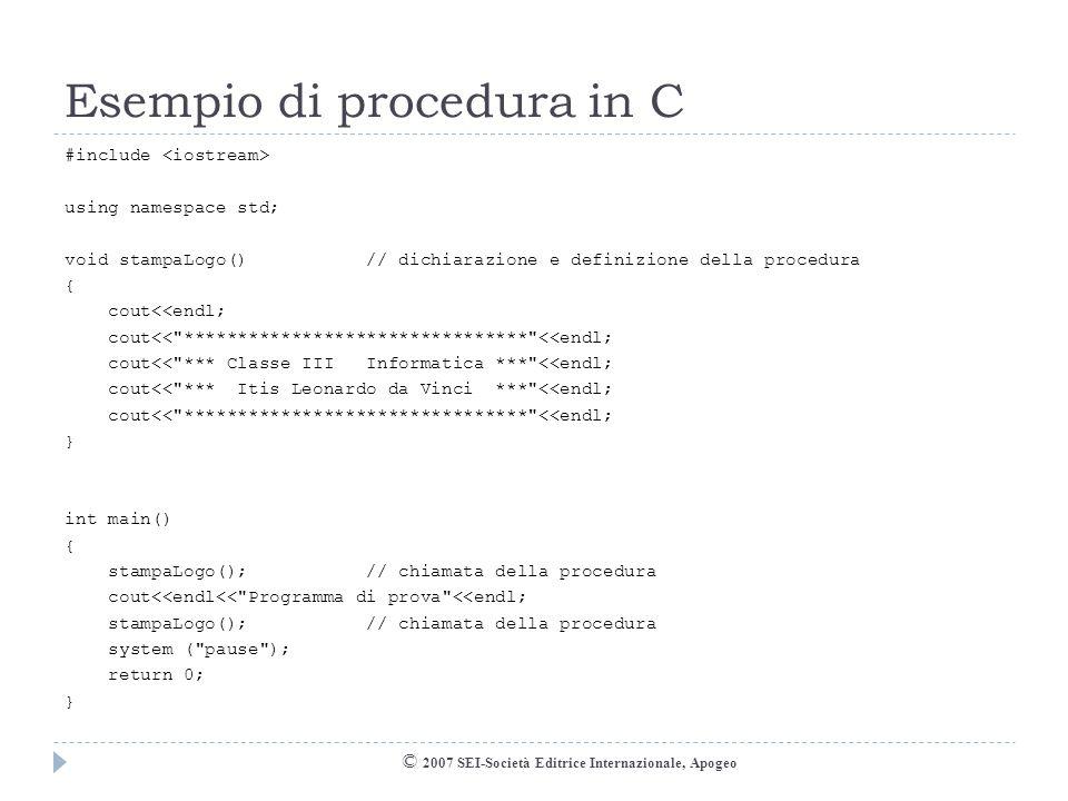 Esempio di procedura in C
