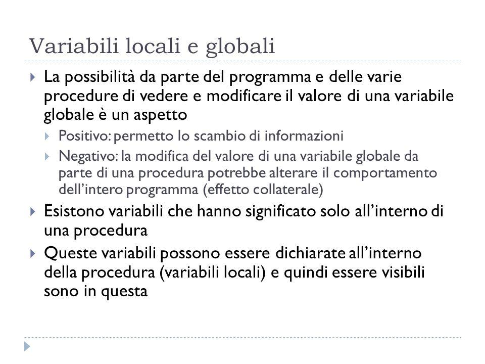 Variabili locali e globali