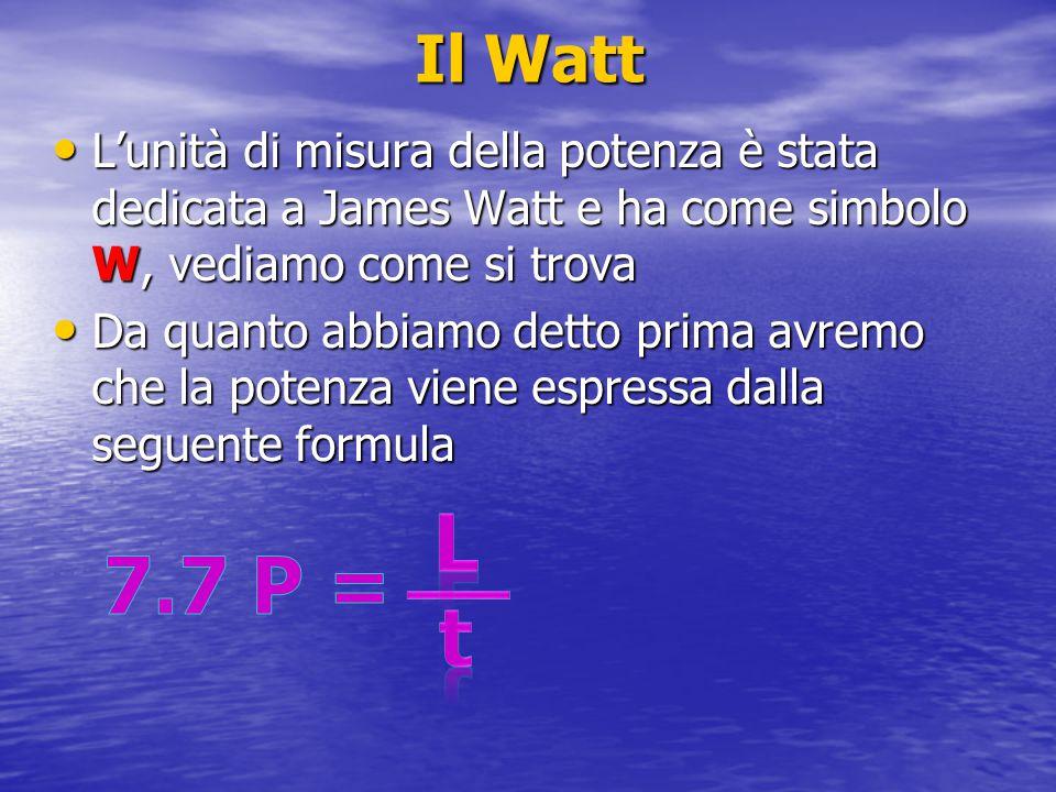 Il Watt L'unità di misura della potenza è stata dedicata a James Watt e ha come simbolo W, vediamo come si trova.