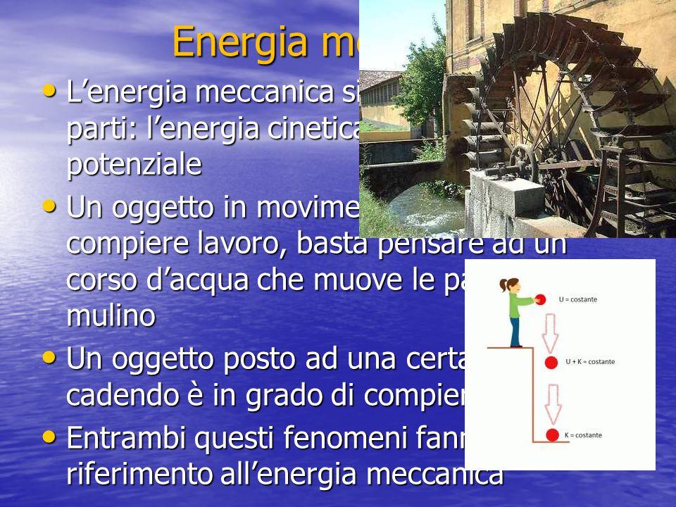 Energia meccanica L'energia meccanica si differenzia in due parti: l'energia cinetica e l'energia potenziale.