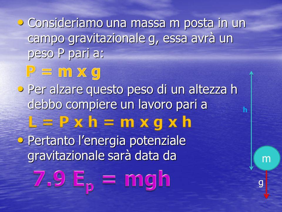 7.9 Ep = mgh P = m x g L = P x h = m x g x h