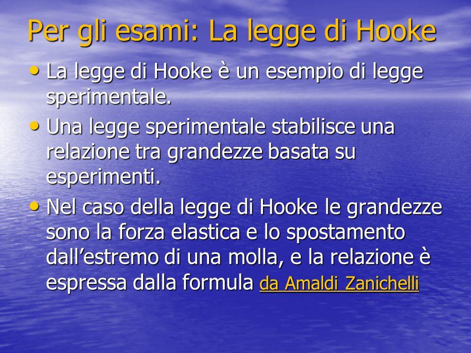 Per gli esami: La legge di Hooke