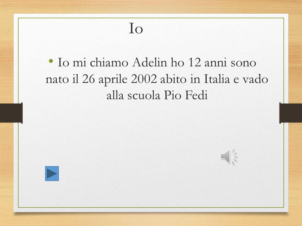 Io Io mi chiamo Adelin ho 12 anni sono nato il 26 aprile 2002 abito in Italia e vado alla scuola Pio Fedi.