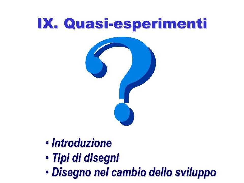 IX. Quasi-esperimenti Introduzione Tipi di disegni