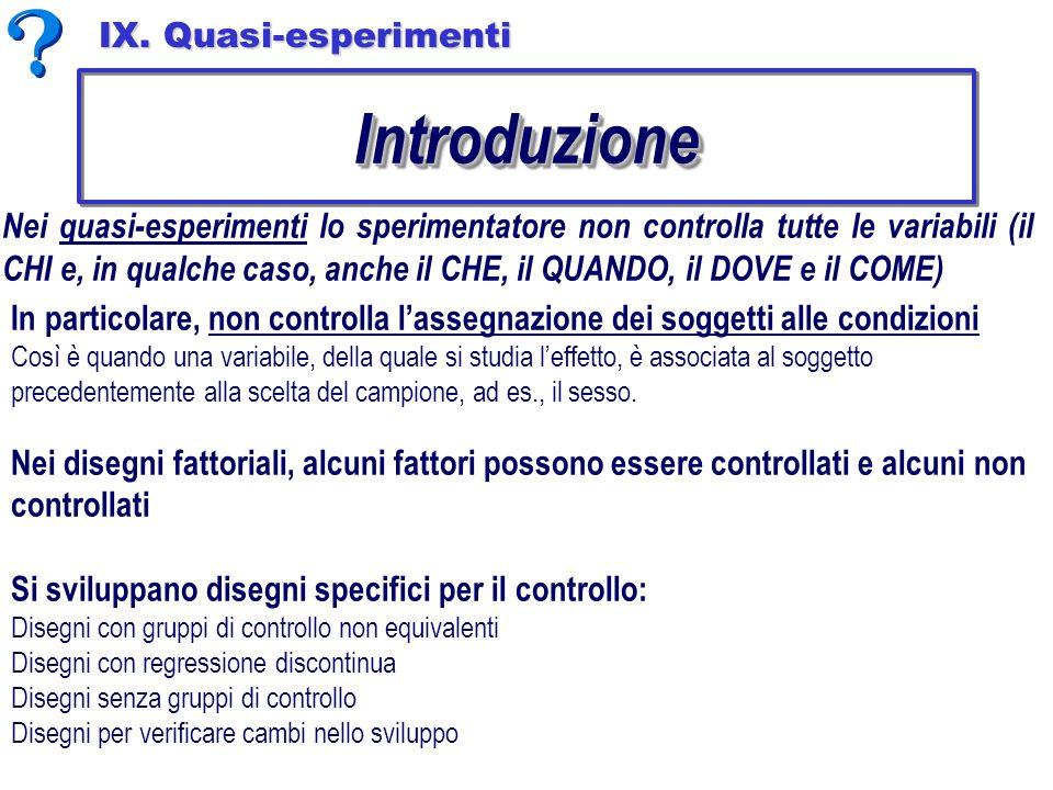 Introduzione IX. Quasi-esperimenti
