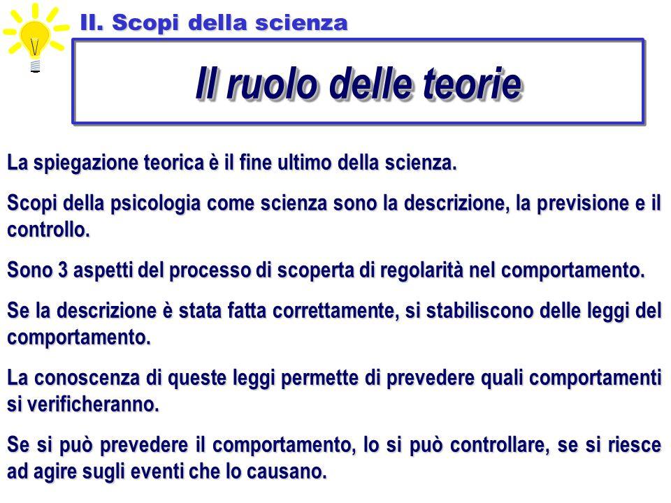 Il ruolo delle teorie II. Scopi della scienza