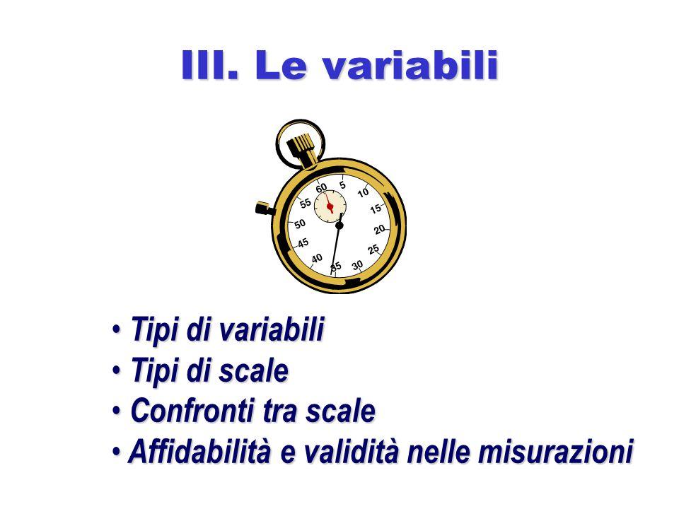 III. Le variabili Tipi di variabili Tipi di scale Confronti tra scale