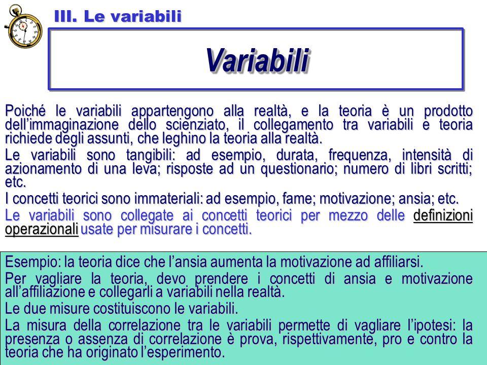 Variabili III. Le variabili