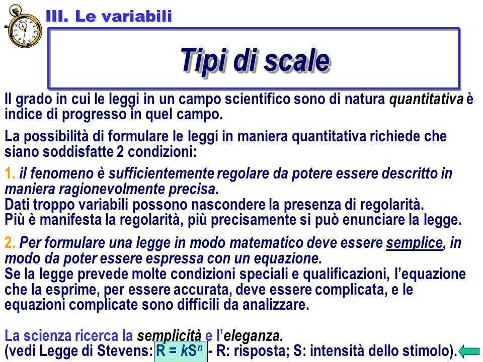 Tipi di scale III. Le variabili