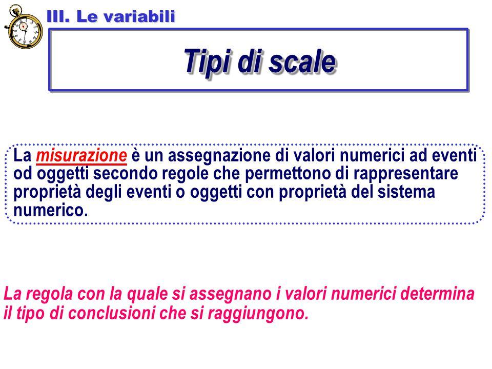 III. Le variabili Tipi di scale.