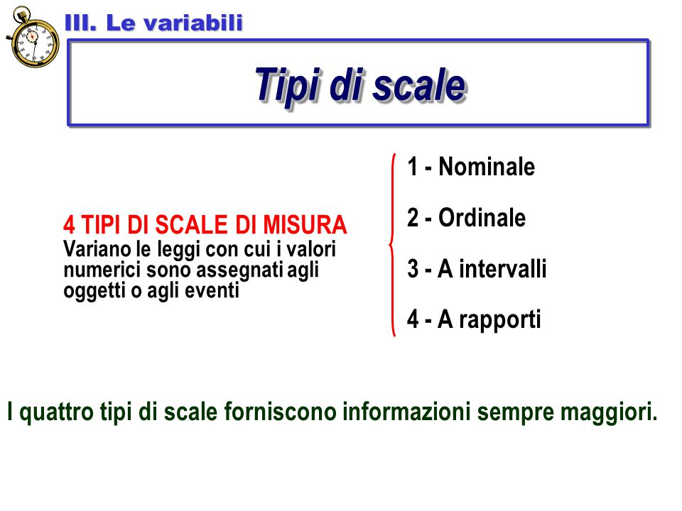Tipi di scale 1 - Nominale 2 - Ordinale 3 - A intervalli