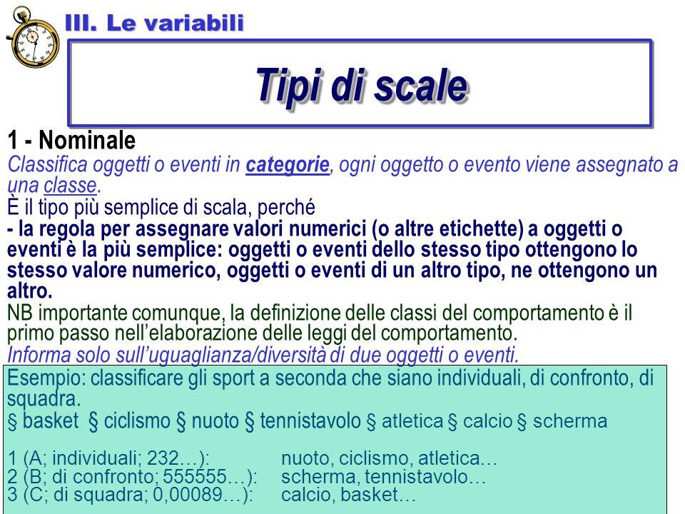 Tipi di scale 1 - Nominale III. Le variabili