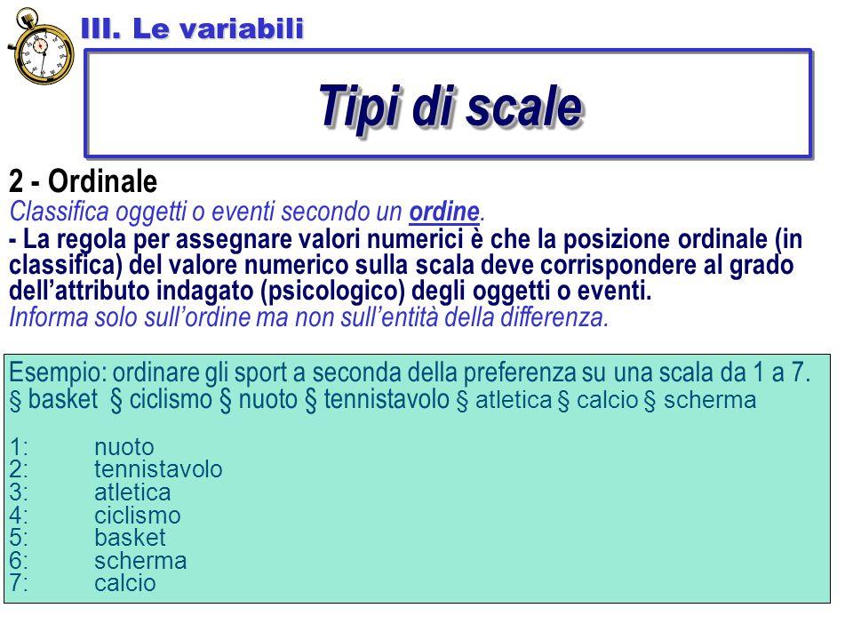 Tipi di scale 2 - Ordinale III. Le variabili