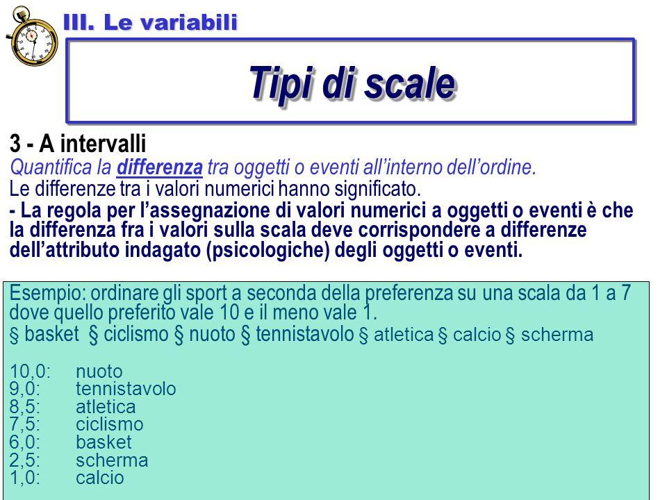 Tipi di scale 3 - A intervalli III. Le variabili