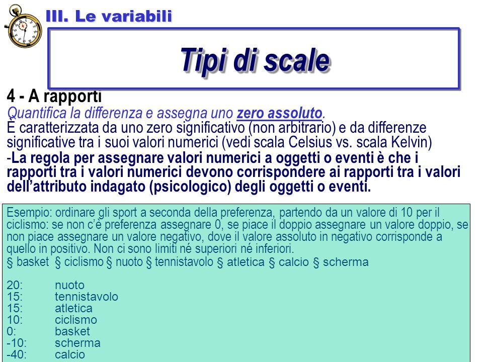 Tipi di scale 4 - A rapporti III. Le variabili