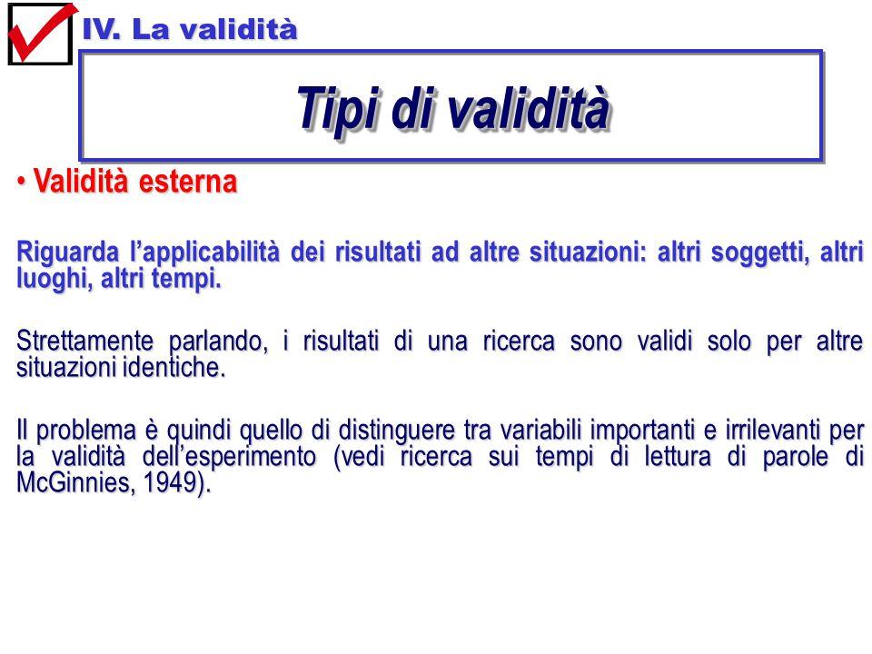 Tipi di validità Validità esterna IV. La validità