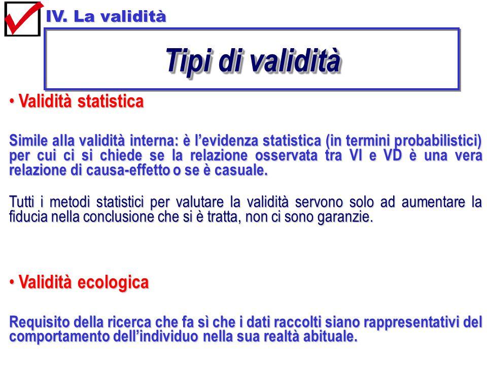 Tipi di validità Validità statistica Validità ecologica