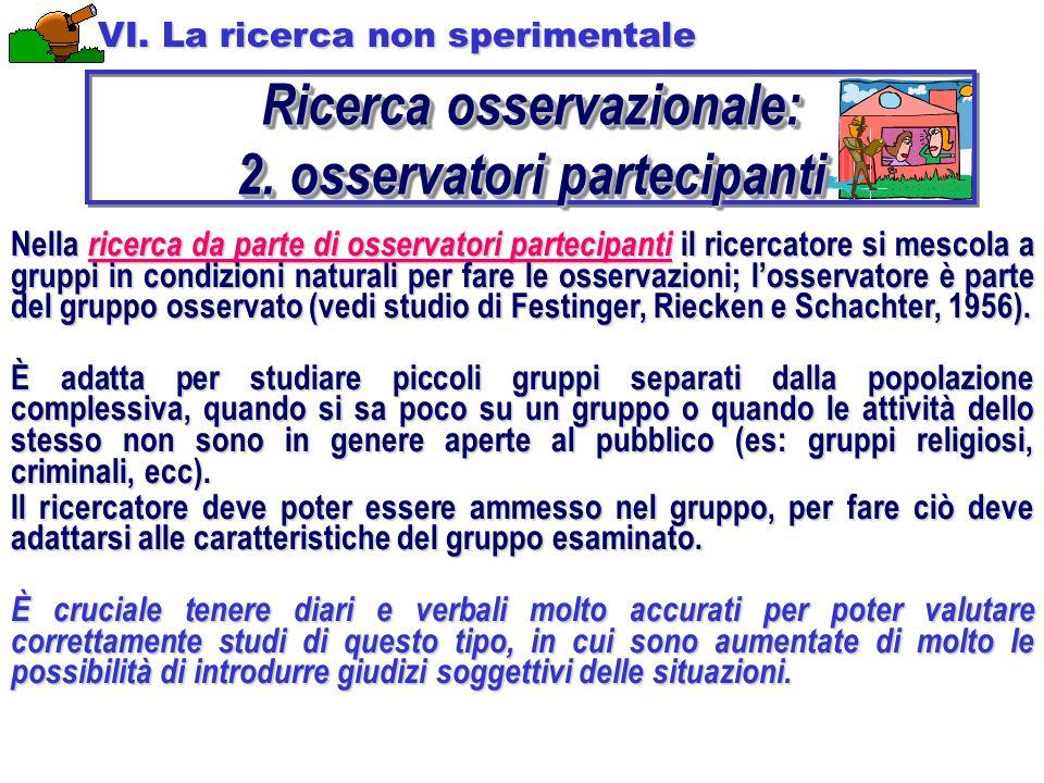 Ricerca osservazionale: 2. osservatori partecipanti