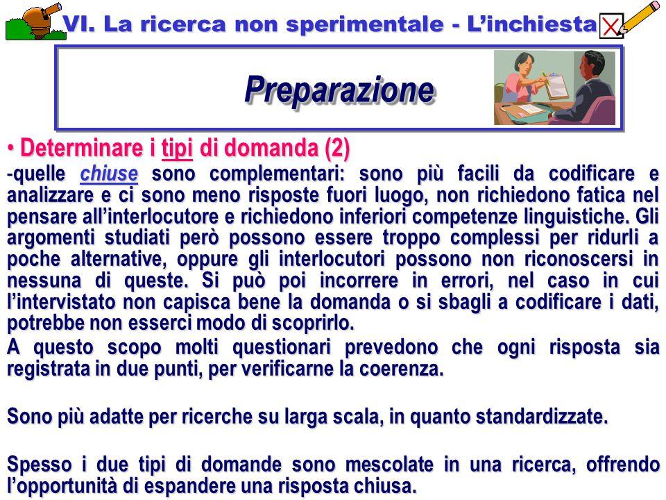 Preparazione Determinare i tipi di domanda (2)