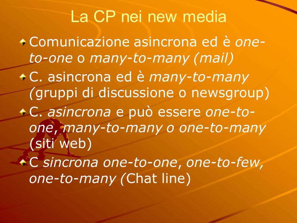 La CP nei new media Comunicazione asincrona ed è one-to-one o many-to-many (mail) C. asincrona ed è many-to-many (gruppi di discussione o newsgroup)