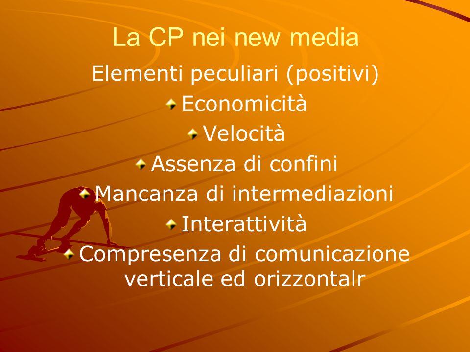 La CP nei new media Elementi peculiari (positivi) Economicità Velocità