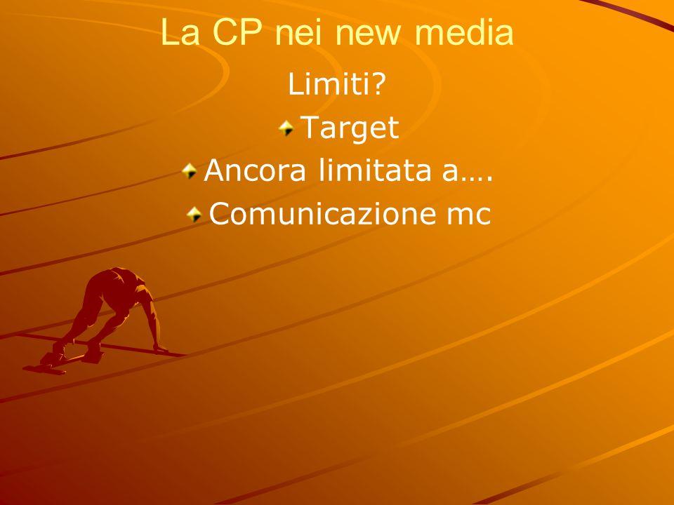 La CP nei new media Limiti Target Ancora limitata a….