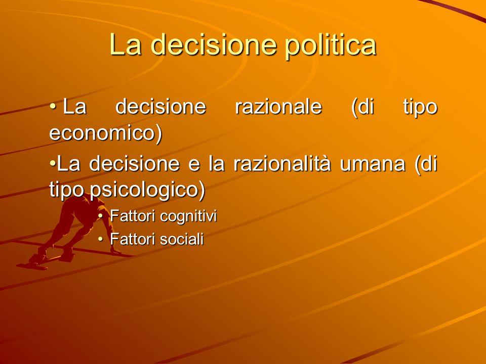 La decisione politica La decisione razionale (di tipo economico)