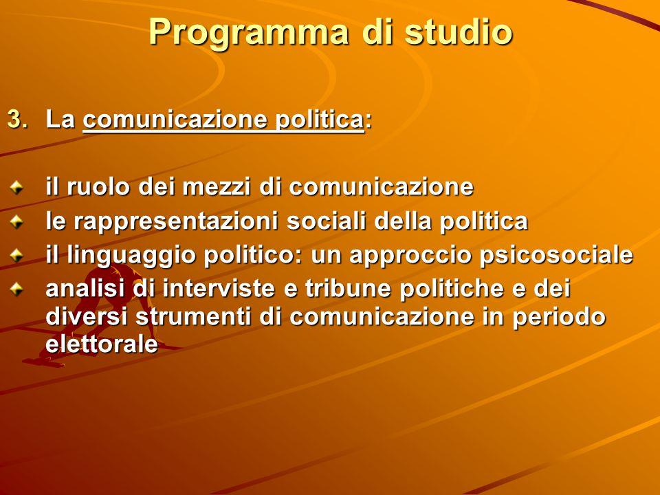 Programma di studio La comunicazione politica: