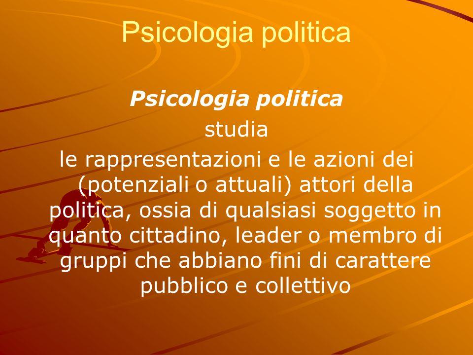 Psicologia politica Psicologia politica studia