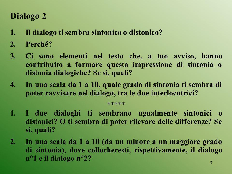 Dialogo 2 Il dialogo ti sembra sintonico o distonico Perché