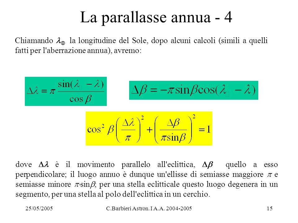 La parallasse annua - 4 Chiamando  la longitudine del Sole, dopo alcuni calcoli (simili a quelli fatti per l aberrazione annua), avremo: