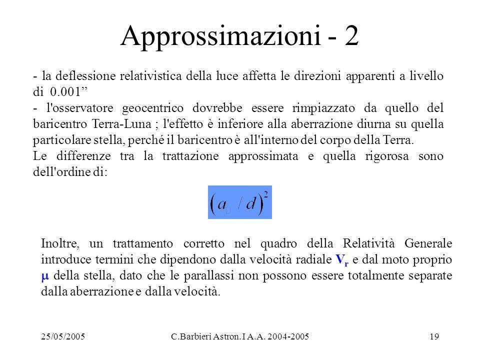 Approssimazioni - 2 - la deflessione relativistica della luce affetta le direzioni apparenti a livello di 0.001