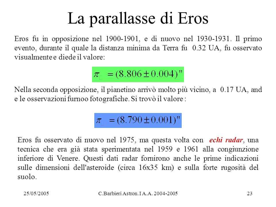 La parallasse di Eros