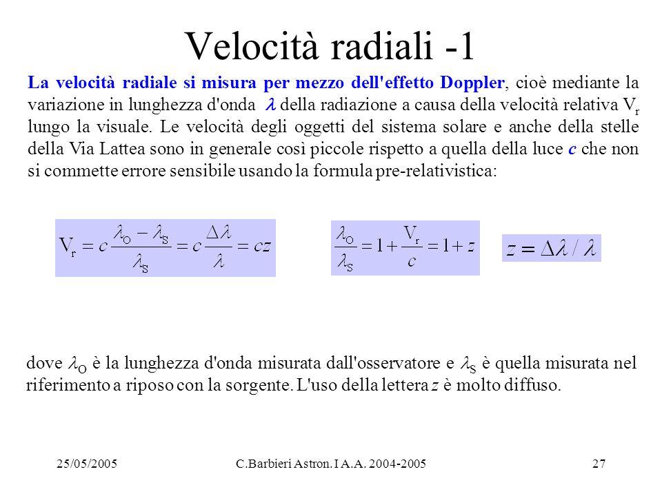 Velocità radiali -1