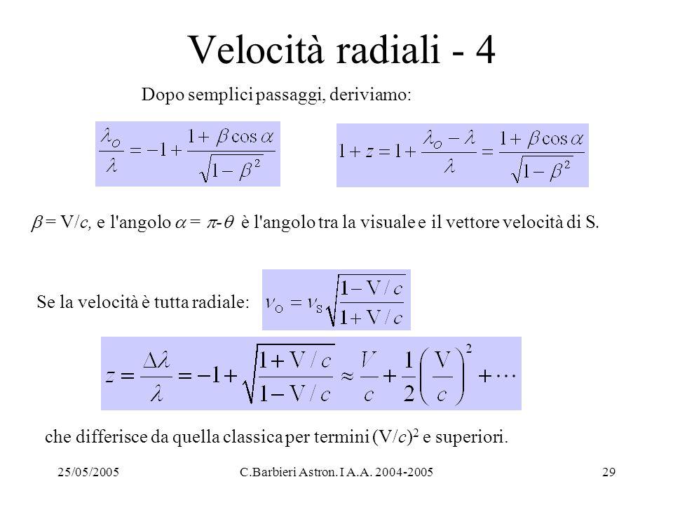 Se la velocità è tutta radiale: