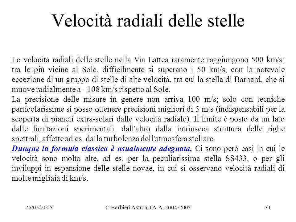 Velocità radiali delle stelle