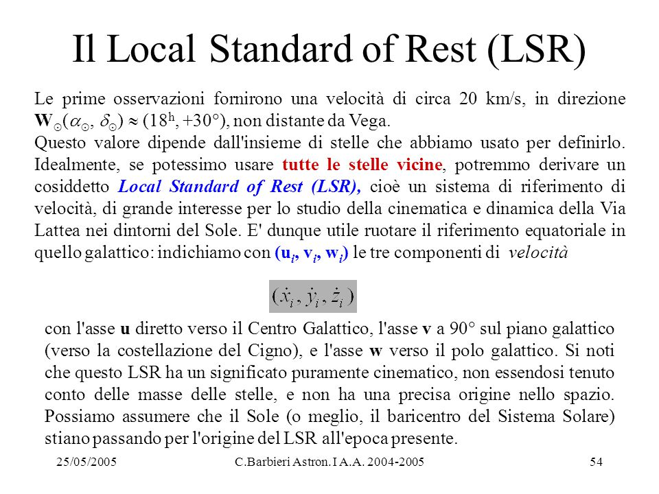 Il Local Standard of Rest (LSR)