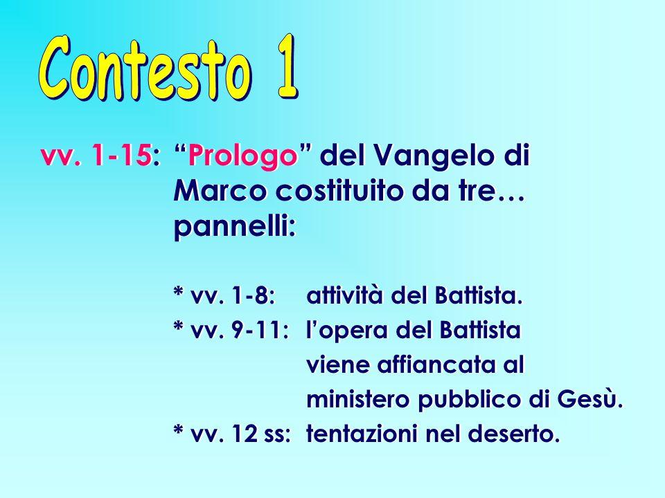 Contesto 1 vv. 1-15: Prologo del Vangelo di Marco costituito da tre… pannelli: * vv. 1-8: attività del Battista.