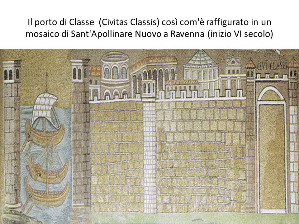 Il porto di Classe (Civitas Classis) così com è raffigurato in un mosaico di Sant Apollinare Nuovo a Ravenna (inizio VI secolo)