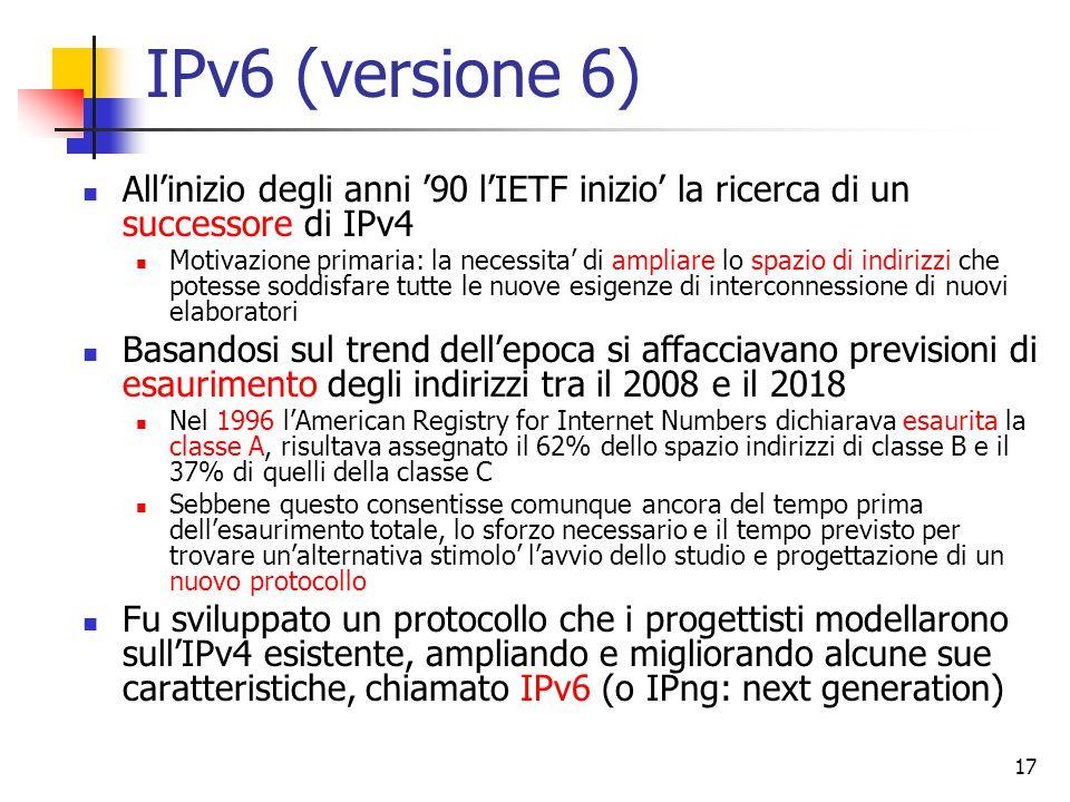 IPv6 (versione 6) All'inizio degli anni '90 l'IETF inizio' la ricerca di un successore di IPv4.