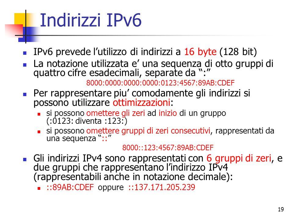 Indirizzi IPv6 IPv6 prevede l'utilizzo di indirizzi a 16 byte (128 bit)